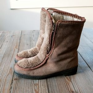 YODELERS boho boots wool leather blend sz6